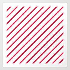Diagonal Lines (Crimson/White) Art Print