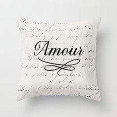 amour - white Throw Pillow