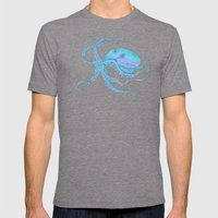 Octopus Swims Mens Fitted Tee Tri-Grey SMALL