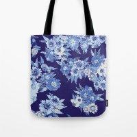 Floral pattern in Indigo Tote Bag