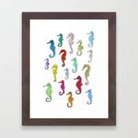 seahorses under the color Framed Art Print