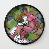 Red Nude on Mossy Rocks Wall Clock