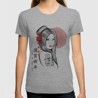 Geisha Doll Womens Fitted Tee Athletic Grey SMALL