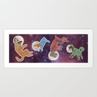 Space Dogs Art Print