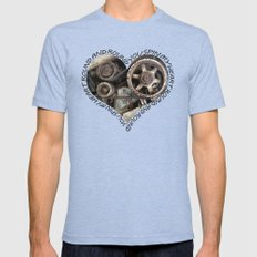 YOU SPIN MY HEART ROUND AND ROUND Mens Fitted Tee Tri-Blue SMALL
