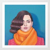 The Orange Scarf Art Print