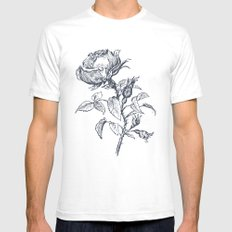 Graphic drawing roses SMALL Mens Fitted Tee White