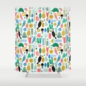 Tropical Vacation Island print pattern fun beach surf sand fun gift for trendy dorm room bright  Shower Curtain