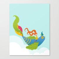 Bird And Girl Canvas Print