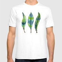 Mystic Sea Feather Trio Mens Fitted Tee White SMALL