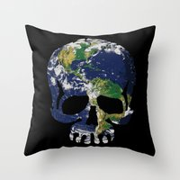 Skull Earth Throw Pillow