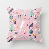 Folk Cuckoo Throw Pillow