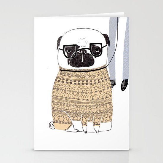 Pug  Stationery Card