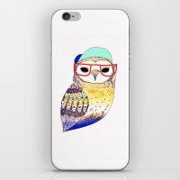 Hipster Owl, hipster, owl, owl art, illustration, print, children's, digital,  iPhone & iPod Skin