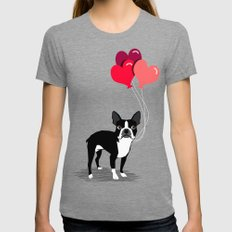 Boston Terrier Valentine heart balloons for pet owners and dog lovers gift for someone they love Womens Fitted Tee Tri-Grey SMALL