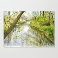 Root River At Racine Canvas Print