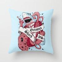 Shark Vs Octopus Throw Pillow