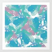 Tropical Blue Frog Patte… Art Print
