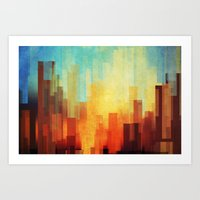 city Art Prints featuring Urban sunset by SensualPatterns