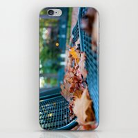 Bench With Autumn Leaves iPhone & iPod Skin
