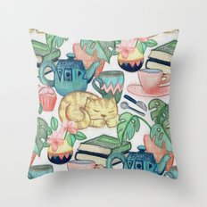 Lazy Afternoon - a chalk pastel illustration pattern Throw Pillow