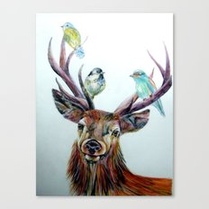 Stag and birds Canvas Print
