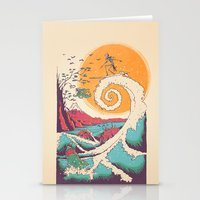 waves Stationery Cards featuring Surf Before Christmas by Victor Vercesi