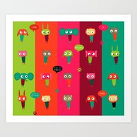 Cute Animals Art Print