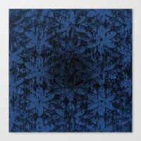 Blue Halftone Flowers II Canvas Print