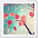 Our hearts are autumn leaves waiting to fall (Pink - Red fall leafs and brilliant retro blue sky) Art Print