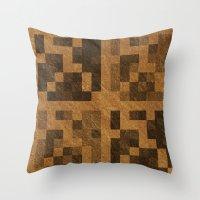 Wood Pixel Blocks Throw Pillow