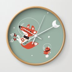 Space Fox Wall Clock