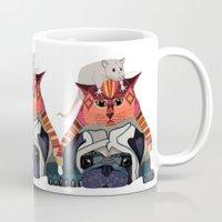 Mouse Cat Pug White Mug
