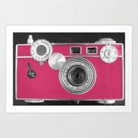 Pink Fashion Camera Art Print
