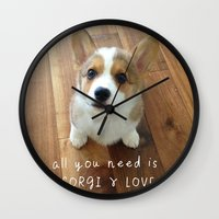 All you need is corgi and love Wall Clock