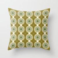Vintage: Olive Circles Throw Pillow