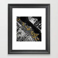 New York City, Yellow Cabs | B/W  Framed Art Print
