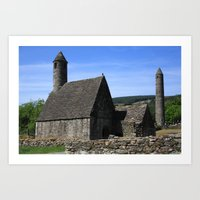 St Kevins Church And Round Tower Art Print