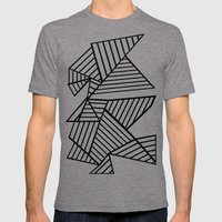 Abstraction Lines Close Up Black and White Mens Fitted Tee Tri-Grey SMALL