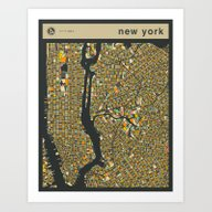 Art Print featuring NEW YORK MAP by Jazzberry Blue