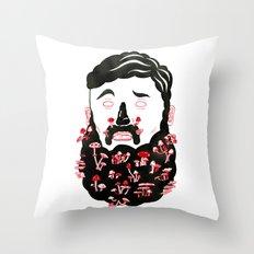 Mushroom Beard Dude Throw Pillow