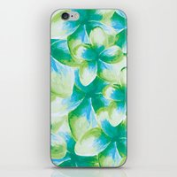 Blue Plumeria Floral Wat… iPhone & iPod Skin
