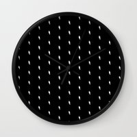 lightning bold pattern black Wall Clock