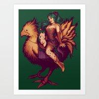 Mog's Chocobo Riding Clu… Art Print