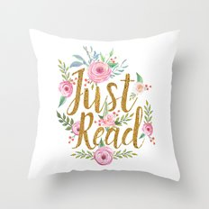 Just Read - White Throw Pillow