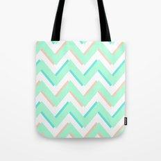 3D CHEVRON MINT/PEACH/TEAL Tote Bag