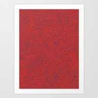 Abstract #002 Cells (Red) Art Print