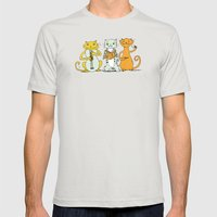 Cat Trio Mens Fitted Tee Silver SMALL