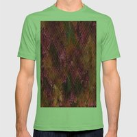 Imprinted Shocking Pink Metal Look Mens Fitted Tee Grass SMALL