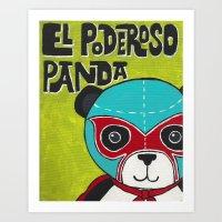 Luchamals Series- El Poderoso Panda Art Print